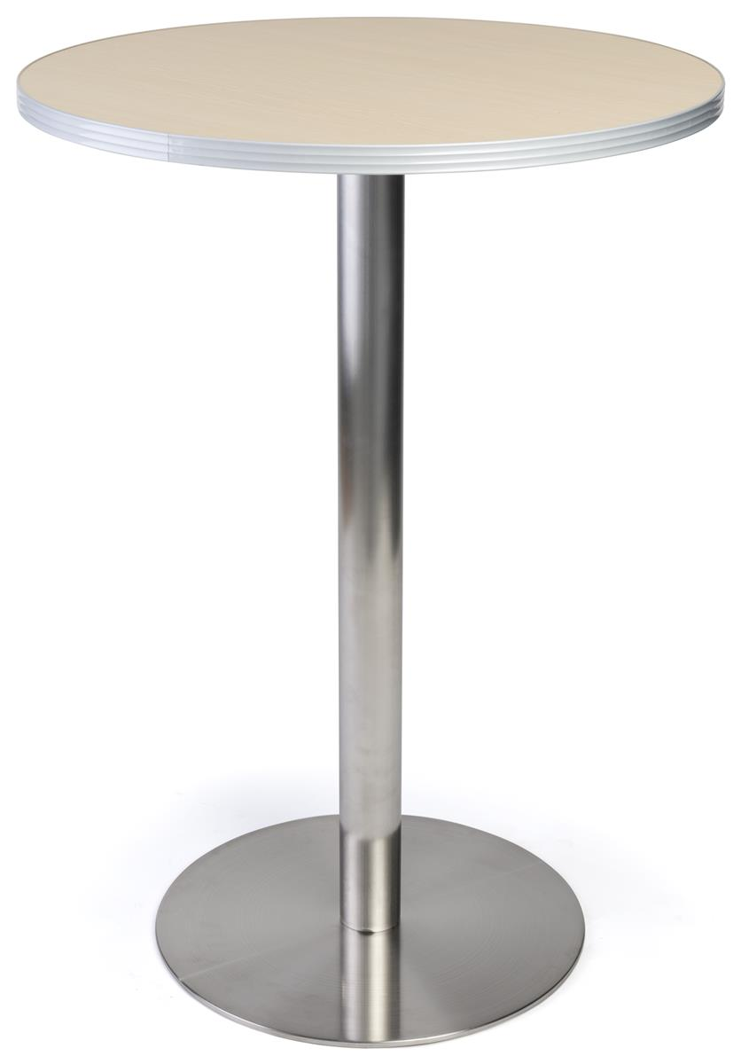 Stainless Restaurant Table 30 Round 42 25 Tall Tabletop W Brushed Stainless Steel Base Light Finish