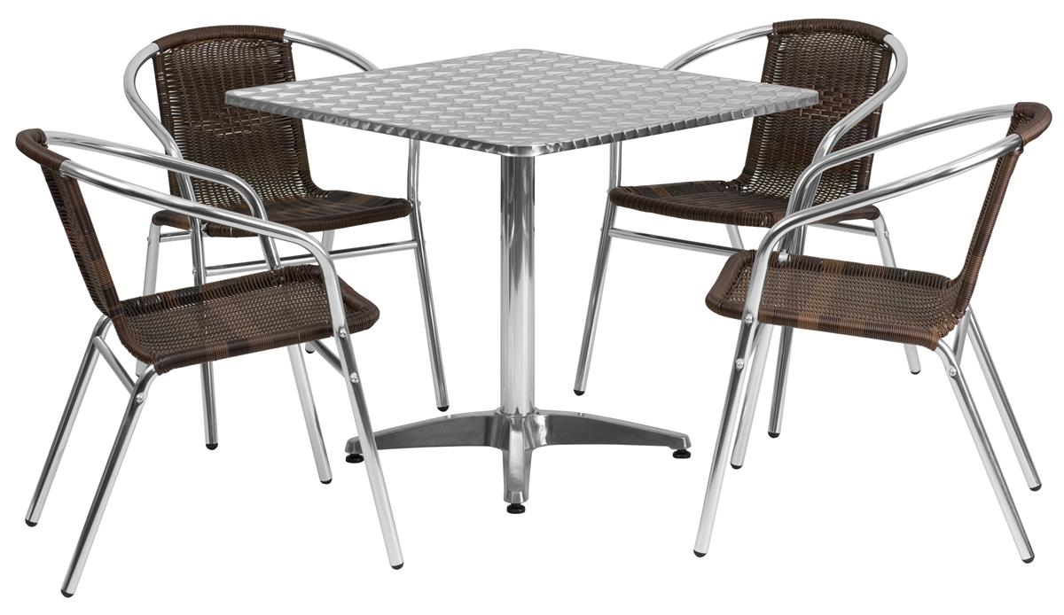 Rattan Table Flash Furniture Dining Table Set W 28 H Square Tabletop 4 Rattan Metal Seats