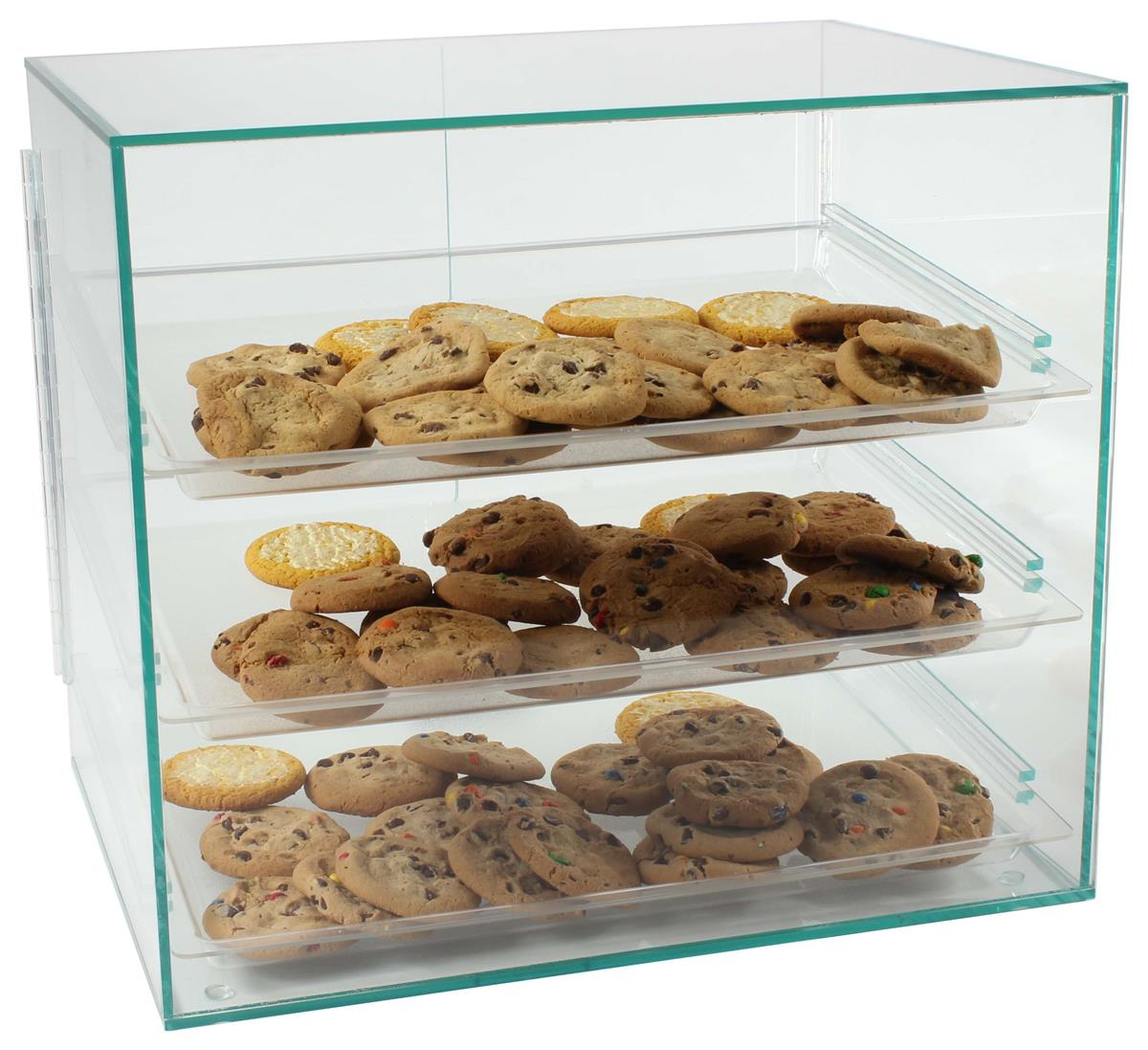 Countertop Food Display Case Food Display Case With 3 Plastic Removable Trays Green Acrylic