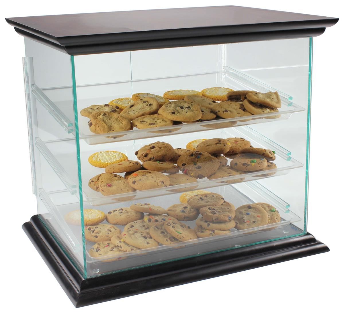 Countertop Food Display Case Acrylic Food Display Case With 3 Plastic Removable Trays Mahogany Base Top