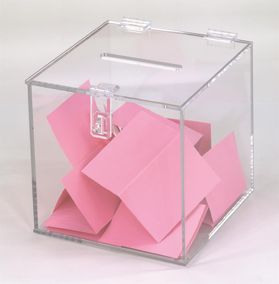 Clear Box Plastic Ballot Box Clear Hinged Lock And Top Slot