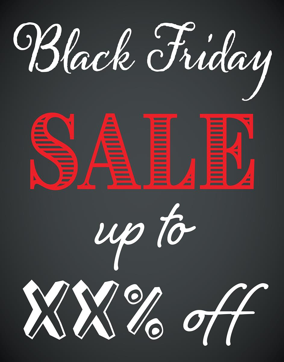 Black Friday Sale 22 X 28 Pre Printed Black Friday Sale Poster Customizable Text Chalkboard