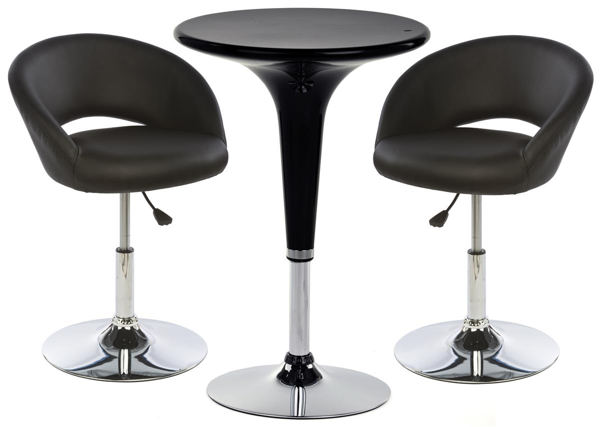 Table And Bar Stools Pub Table Set With 1 Round Cocktail Table 2 Adjustable Leatherette Stools Black