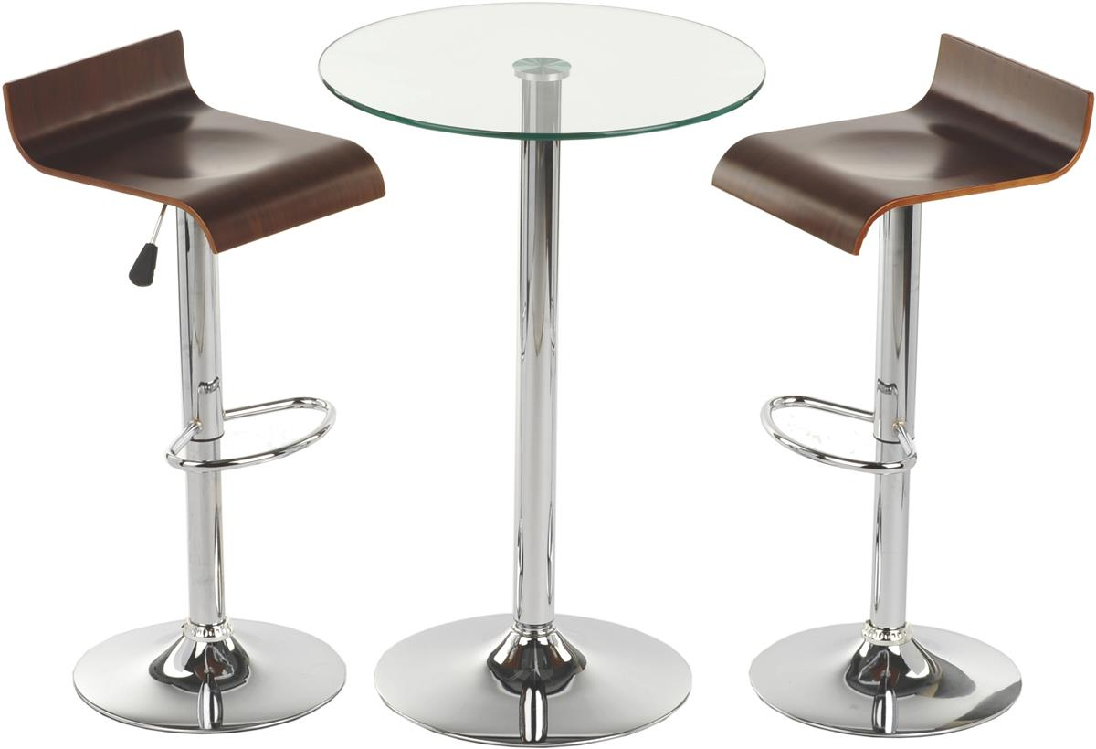 Modern Table And Chairs Pub Table Set With 1 Tempered Glass Round Cocktail Table 2 Adjustable Wooden Stools