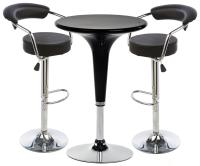 Black Hydraulic Bar Stool and Table Set | Leatherette Seats