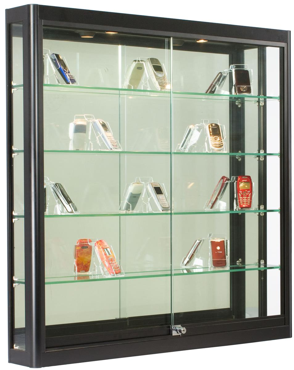 Wall Mounted Display Case 3x3 Wall Mounted Display Case W Slider Doors Mirror Back Locking Black