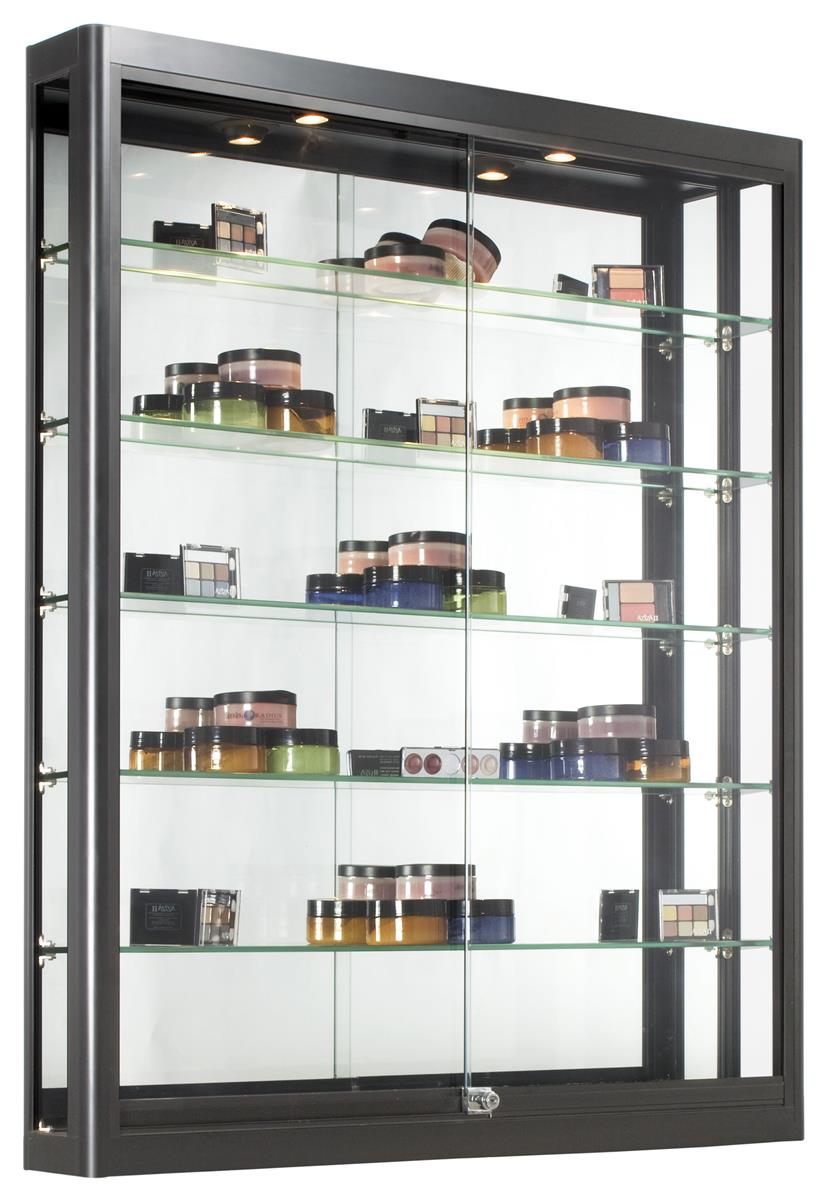 Wall Mounted Display Case 3x4 Wall Mounted Display Case W Slider Doors Mirror Back Locking Black