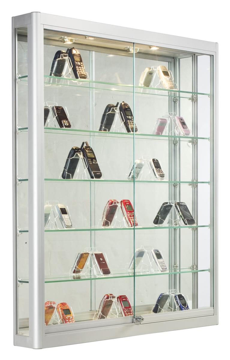 Wall Mounted Display Case 3x4 Wall Mounted Display Case W Slider Doors Mirror Back Locking Silver