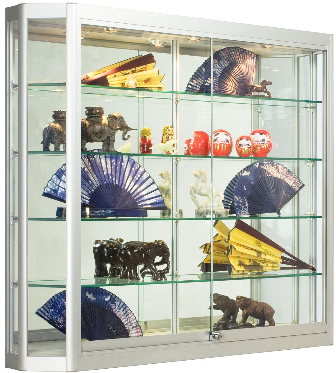 Wall Mounted Display Case 4x3 Wall Mounted Display Case W Angled Front Sliding Doors Locking Silver