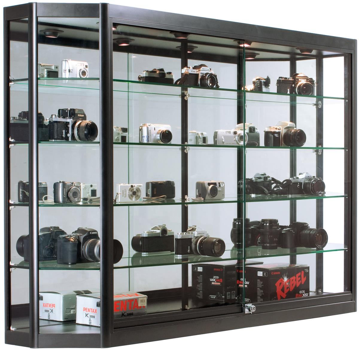 Wall Mounted Display Case 5x3 Led Wall Mounted Display Case W Mirror Back Sliding Doors Locking Black