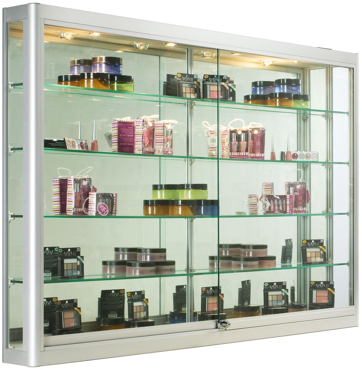 Wall Mounted Display Case 5ft Wall Mounted Display Case W 4 Top Halogen Lights Mirror Back Locking Silver