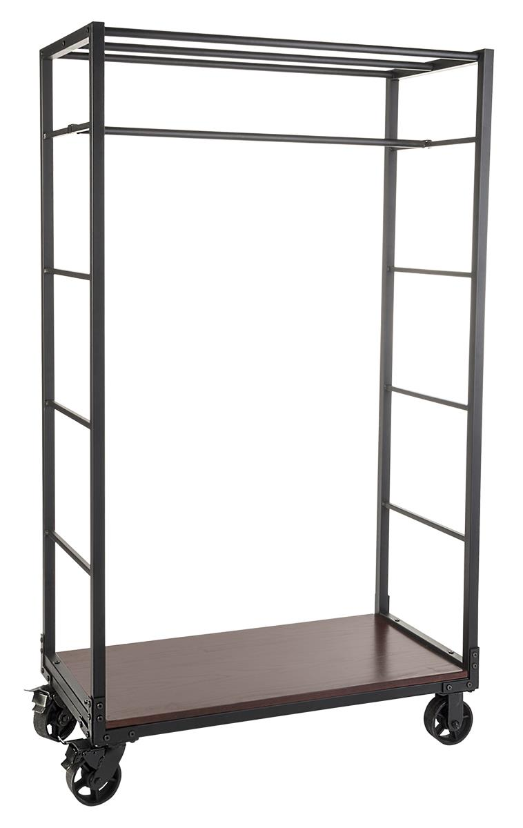Industrial Clothing Rack Rolling Clothing Rack With 2 Wooden Shelves 1 Removable Hanging Rail Mahogany