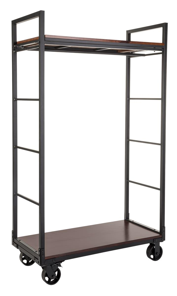 Industrial Clothing Rack Rolling Clothing Rack With 2 Wooden Shelves Hanging Rail Mahogany