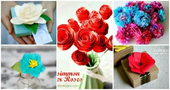 30 DIY Paper Flowers (Step by Step Tutorials / Template) - DIY  Crafts