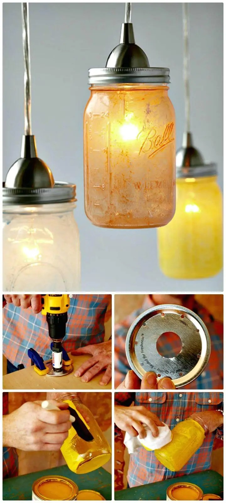 Glass Jar Lamp Shade Diy Mason Jar Lights 74 Best Ideas To Light Up Your Home Diy Crafts
