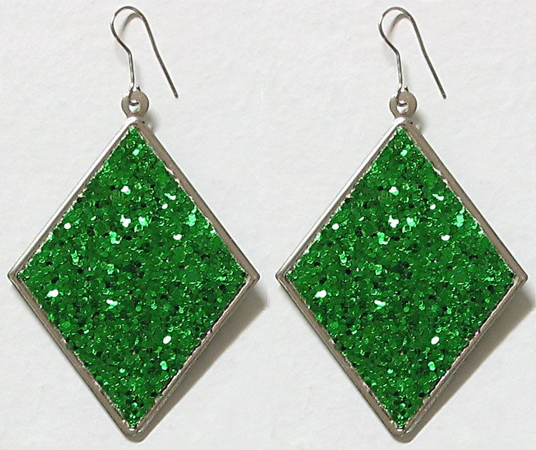 Green Diamond Shaped Earrings