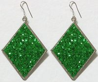 Green Diamond Shaped Earrings