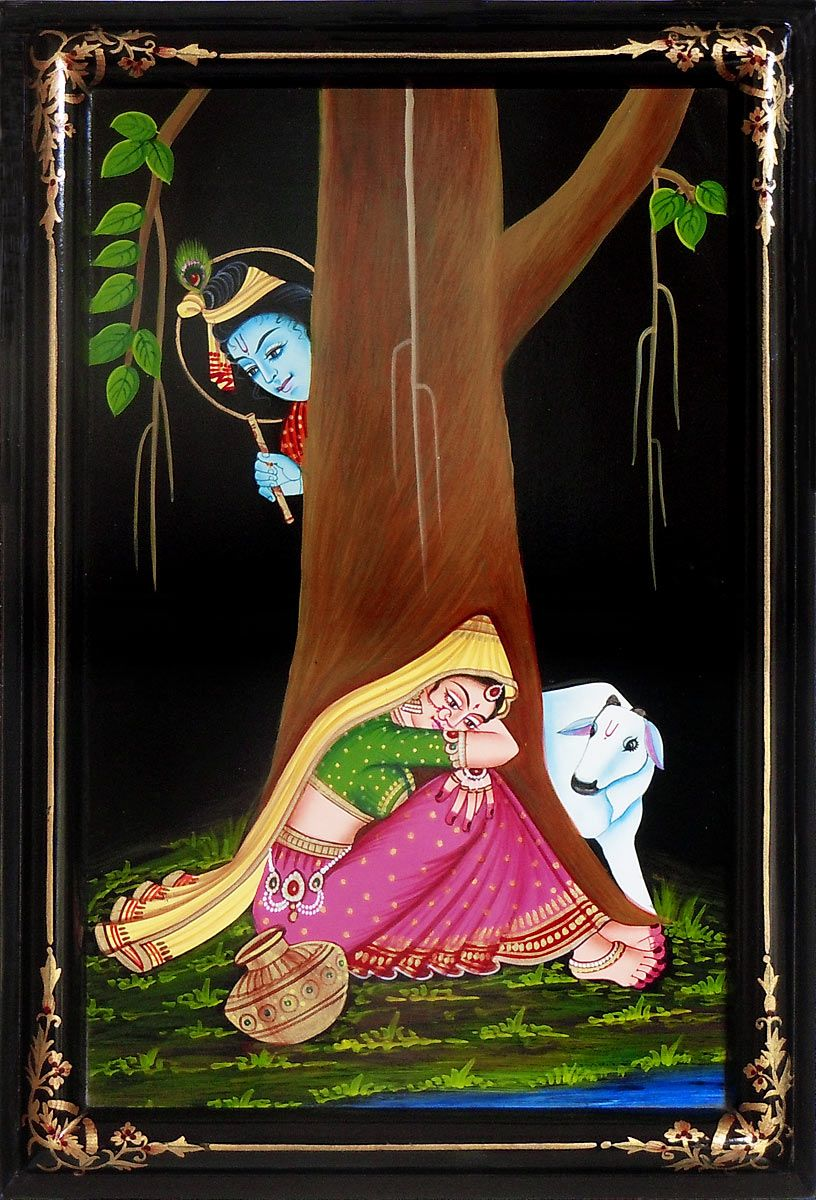 Xxl Xxxl Krishna Peeping At Radha - Painting On Hardboard - 18.75 X
