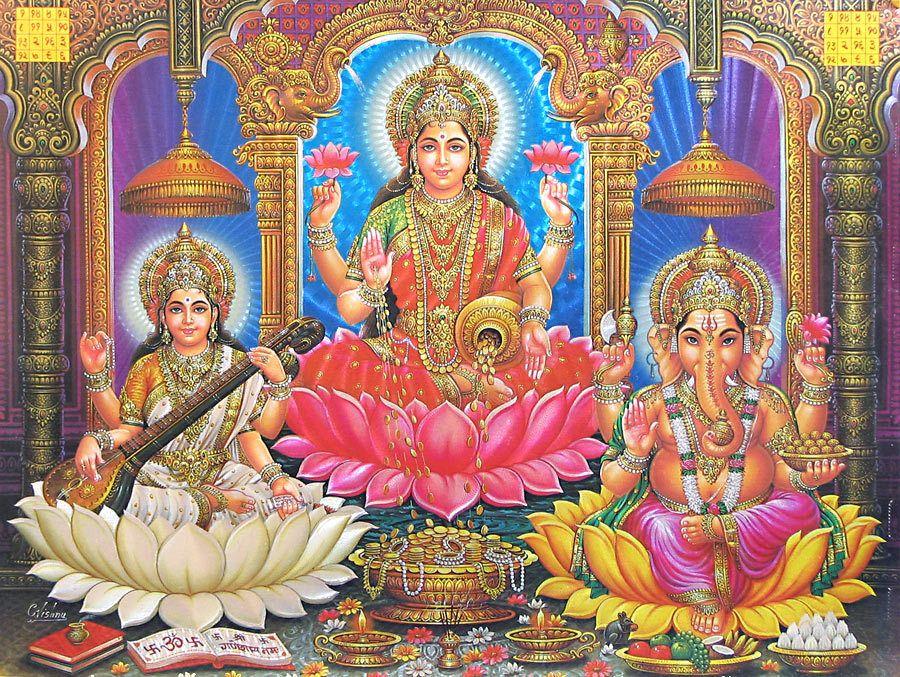 Ganpati Bappa 3d Wallpaper Lakshmi Saraswati And Ganesha