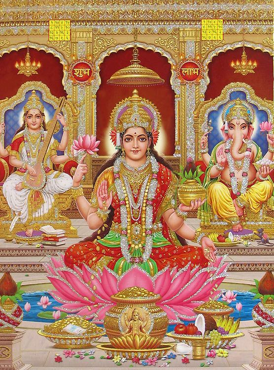 Jai Mata Di Hd Wallpaper Lakshmi Saraswati And Ganesha Poster With Glitter