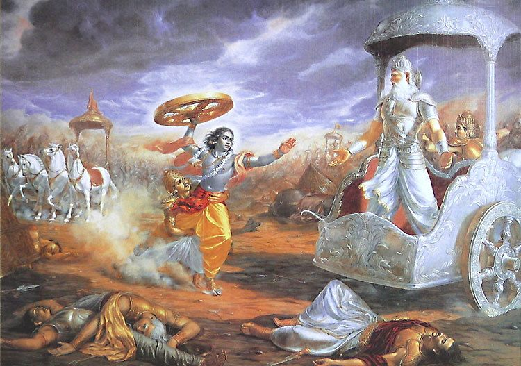 Jain Quotes Wallpaper Krishna Attacks Bhishma With A Chariot Wheel