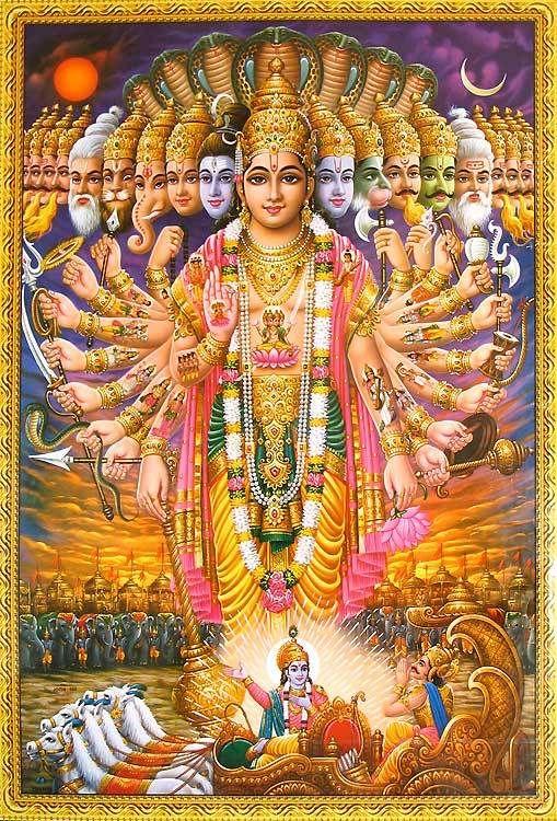 3d Wallpaper Of Sri Krishna Lord Krishna Showing Vishvarupa To Arjuna