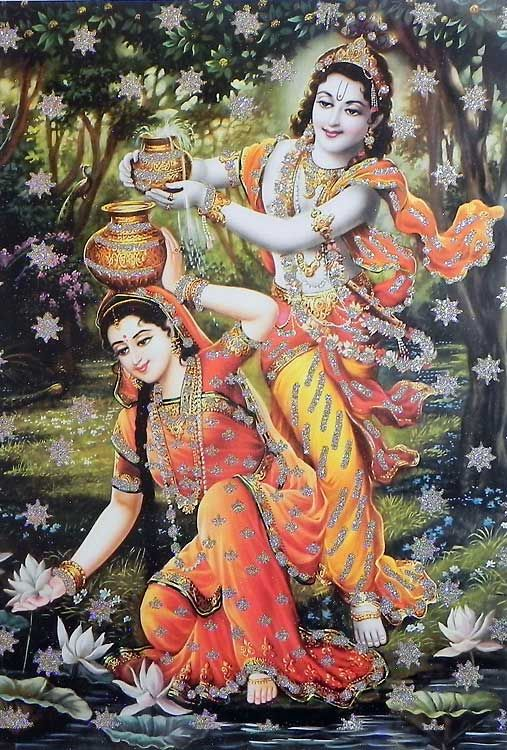 Lord Krishna With Gopis 3d Wallpaper Radha Krishna In A Playful Mood Poster With Glitter