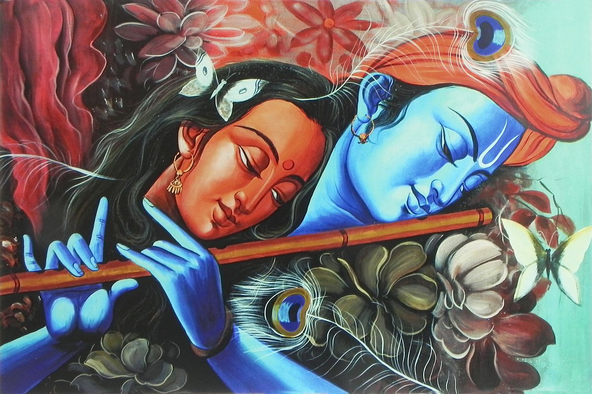 3d Radha Krishna Wallpaper Download Radha Mesmerised By The Sound Of Krishna S Flute