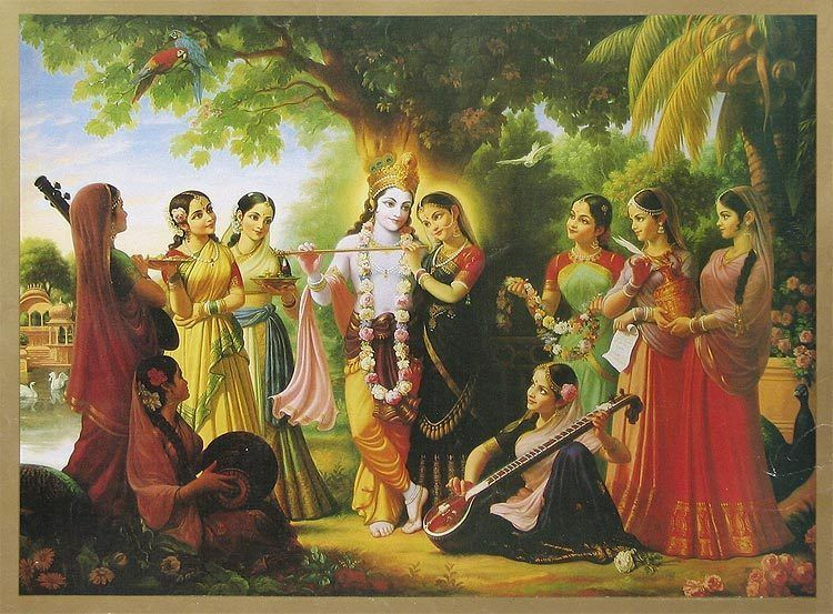 Lord Krishna With Gopis 3d Wallpaper Radha Krishna With Gopis 19 5 X 13 5 Inches Unframed