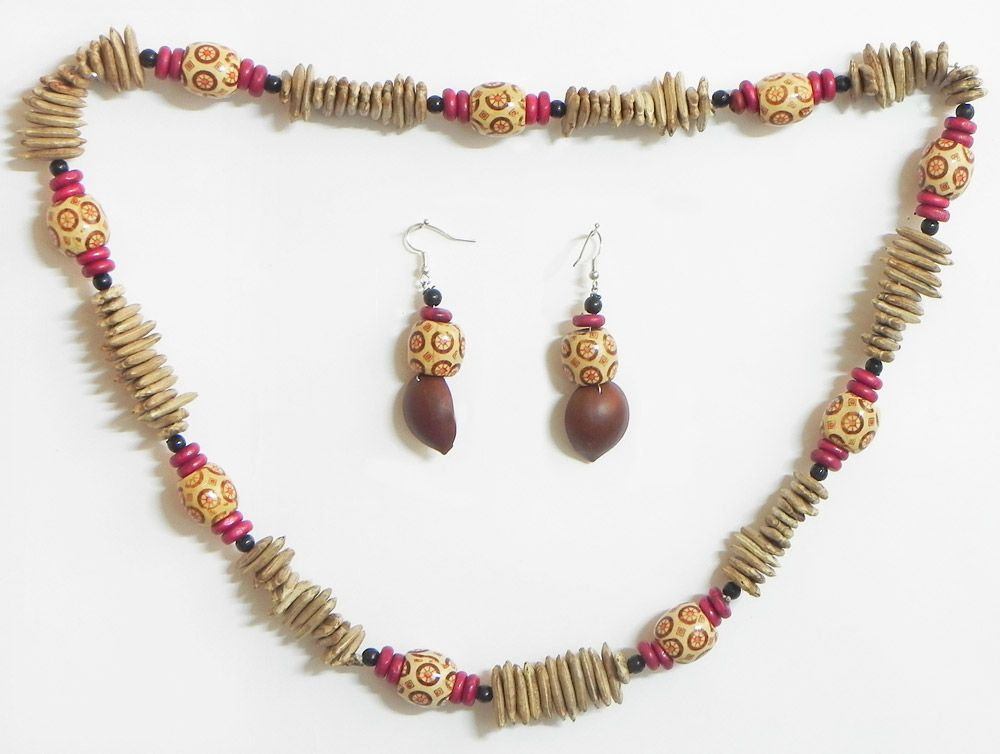 Wooden Beads With Natural Seed Necklace And Earrings