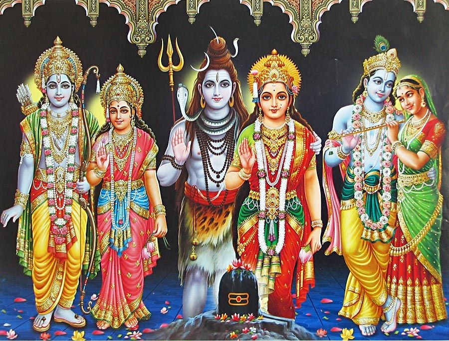 Maa Durga Wallpaper 3d Three Divine Couples Shiva Parvati Rama Sita And Radha