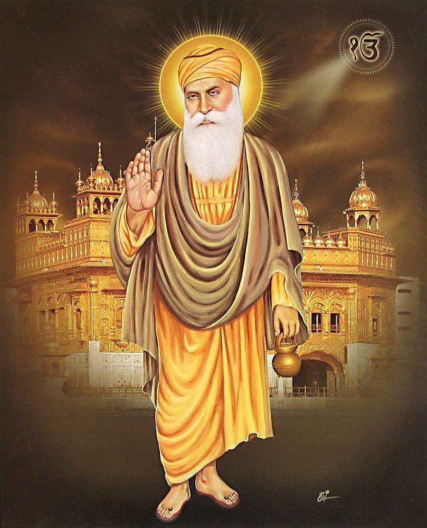 3d Wallpaper Guru Nanak Dev Ji Guru Nanak In Front Of Golden Temple