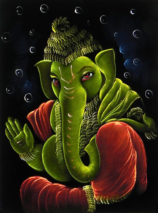 Cute Ganesh Hd Wallpaper Green Ganesha