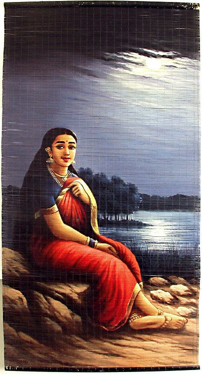 Sad Girl Pic Wallpaper Lady In Moonlight Raja Ravi Varma Painting Wall Hanging