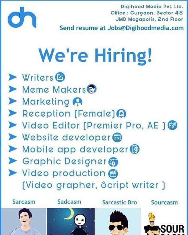 dopl3r - Memes - ch Digihood Media Pvt Ltd Office Gurgaon - send resume to jobs