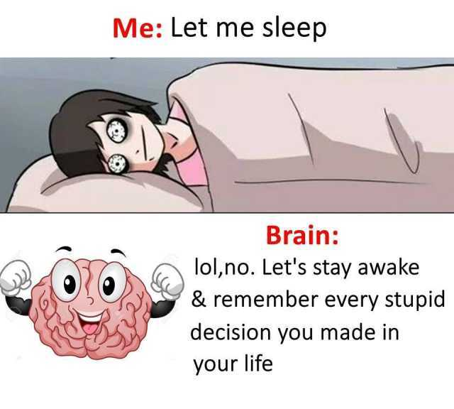 dopl3r - Memes - Me Let me sleep Brain ol,no Lets stay awake