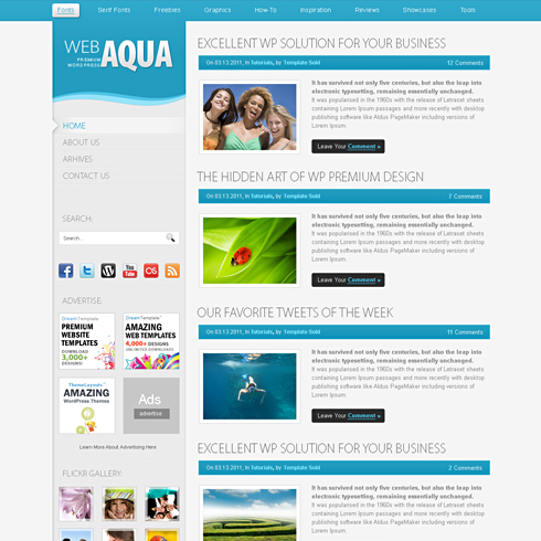 Aqua - HTML Template - Web Blog - Personal - CSS Templates - interactive website template