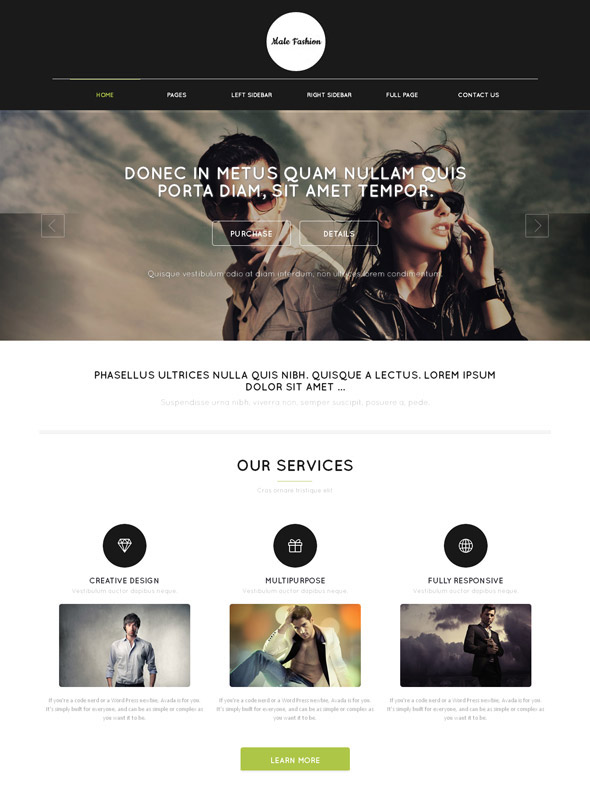 Bootstrap Css Men's Clothing Site Template - Male Fashion - Website