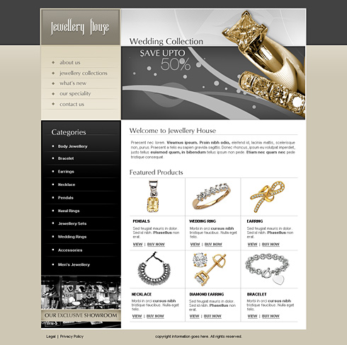 Custom Jewelry Business Plan Bplans Jewelry House Web Template 2443 Jewelry Website