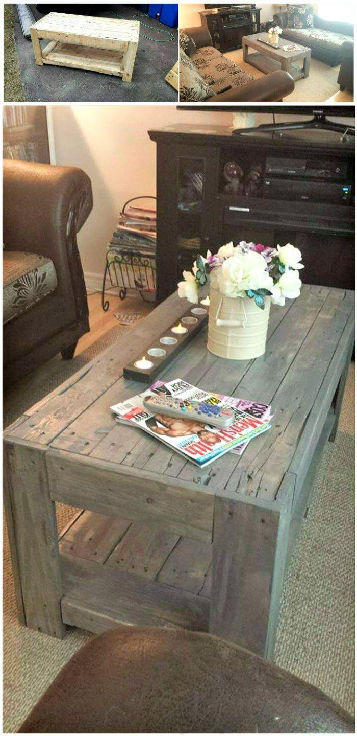 Diy Table With Pallets Diy Wood Pallet Coffee Table Easy Pallet Ideas