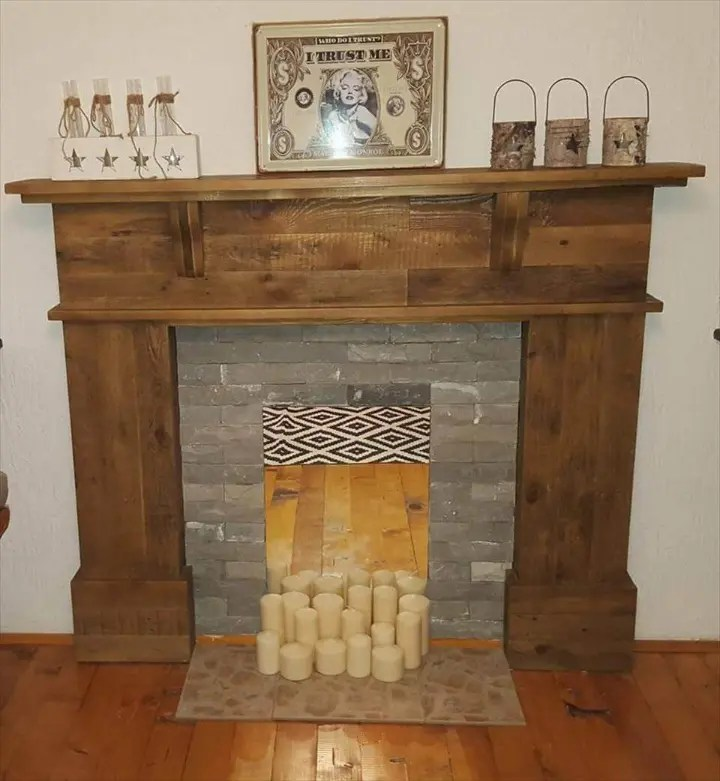 Fireplace Mantel Parts Pallet Fireplace Mantel Easy Pallet Ideas