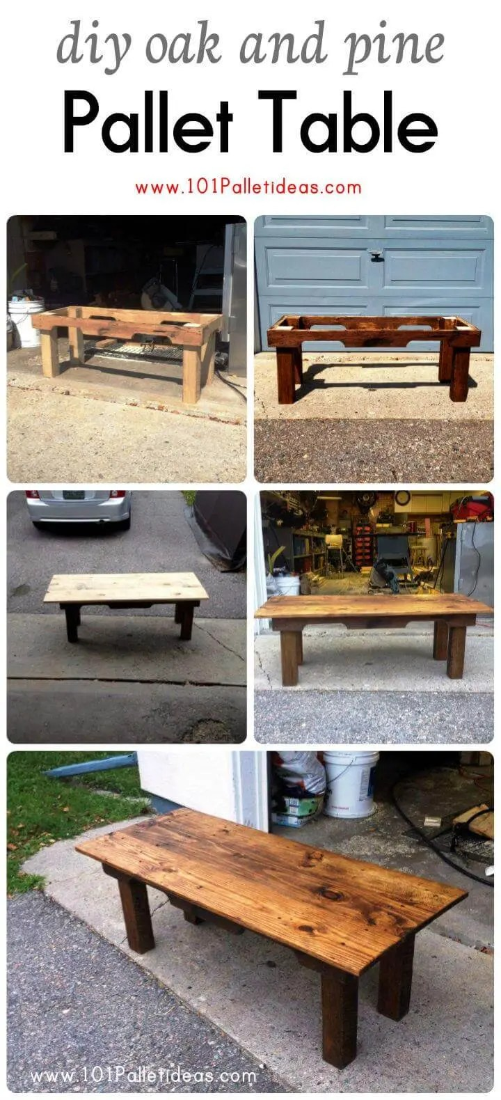 Diy Table With Pallets Diy Oak And Pine Pallet Table Easy Pallet Ideas