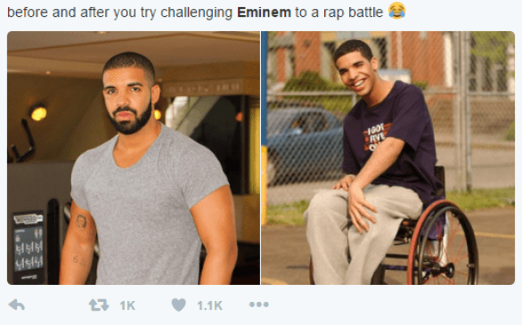Memes that spur out due to an alleged rap battle between Drake and Eminem