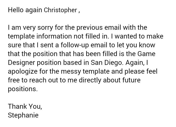 job rejection response
