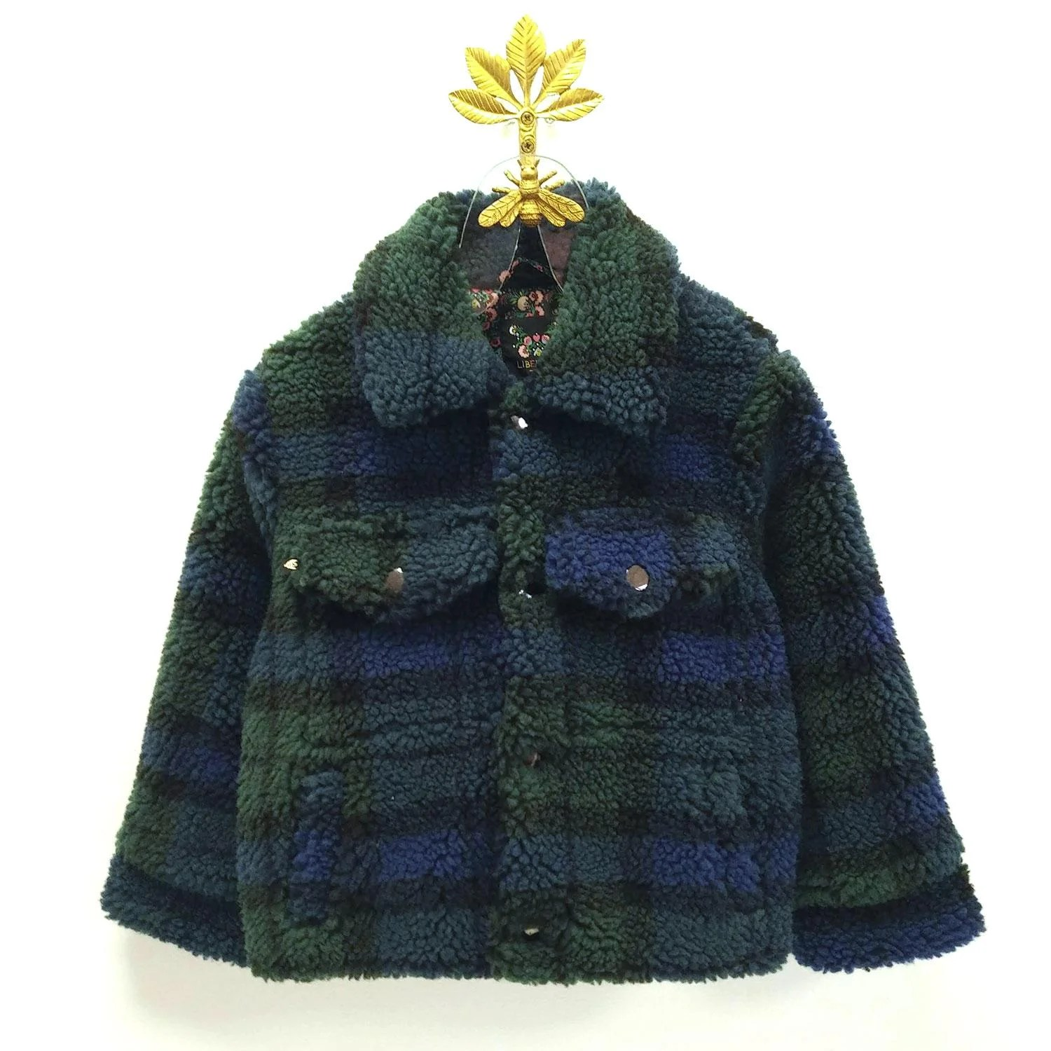 Teddy Plaid Juni Is A Workwear Jacket In A Plaid Patterned Chunky Teddy Faux Fur