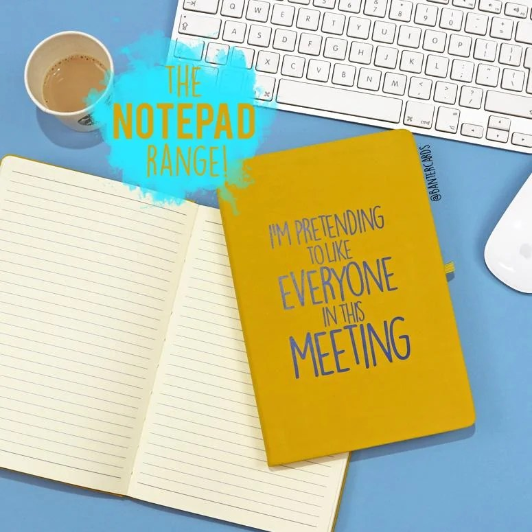 I\u0027M PRETENDING TO LIKE EVERYONE IN THIS MEETING HARDBACK NOTEPAD - A5