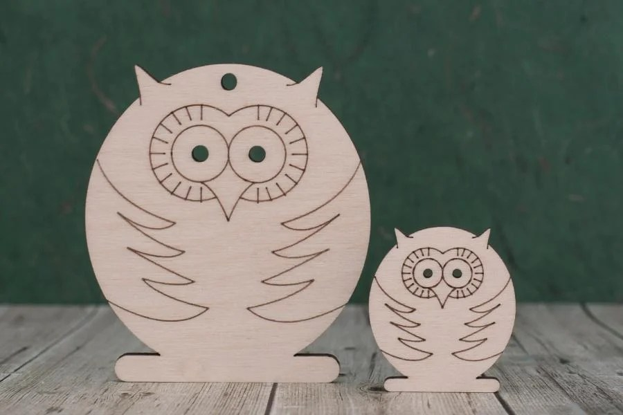 Wooden owl craft shapes with laser etched detail