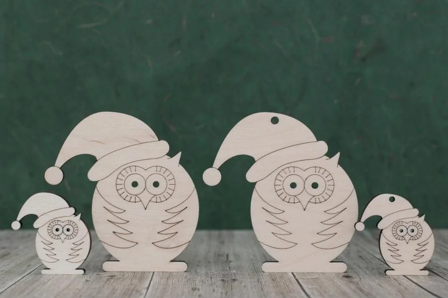 Wooden owl craft Shapes - wearing a Christmas hat