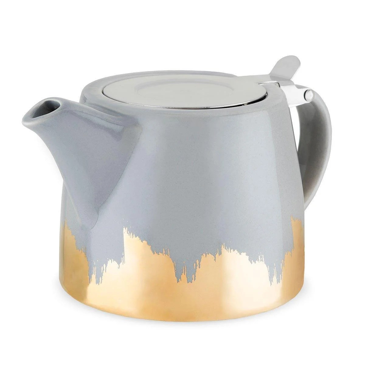 Ceramic Teapot With Infuser Harper Grey And Gold Brushed Ceramic Teapot And Infuser