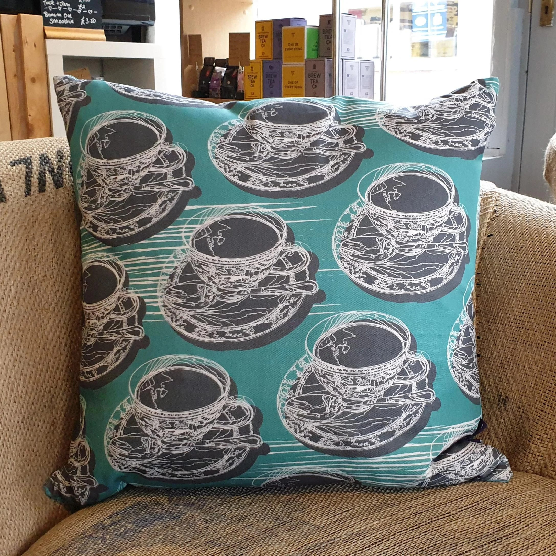 Retro Cushions Aqua Teal Teacup Saucer Retro Double Sided Cushions 45cm 18